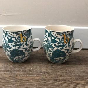 "Set of 2 Anthropologie Monogram ""B"" Mugs"